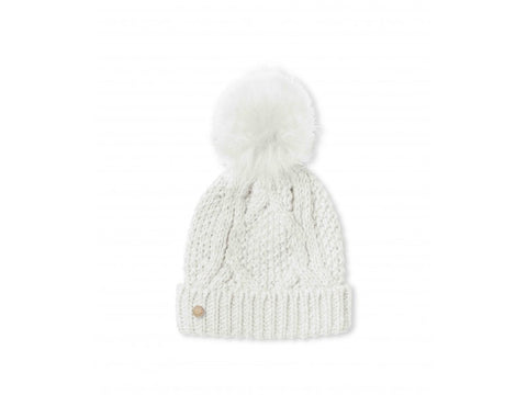 Cable Knitted Bobble Hat - Cream