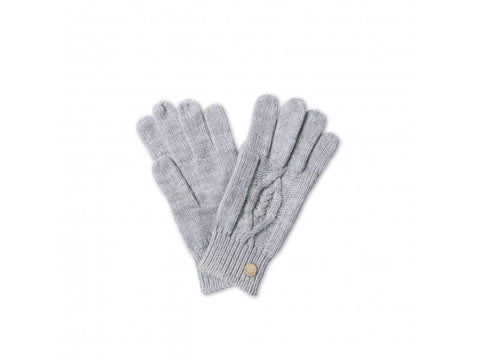 Cable Knit Gloves  - Grey