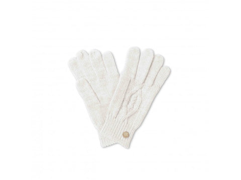 Cable Knit Gloves  - Cream