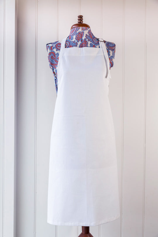 Digital Print Cotton Apron – White