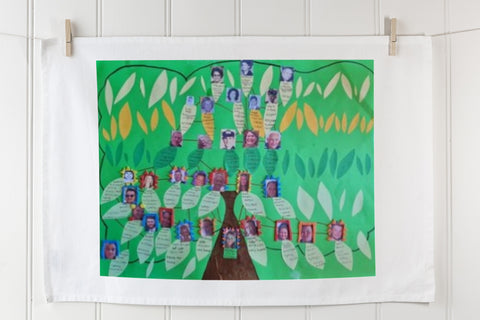 Expressions Australia | Printed personalised family tree cotton linen tea towel