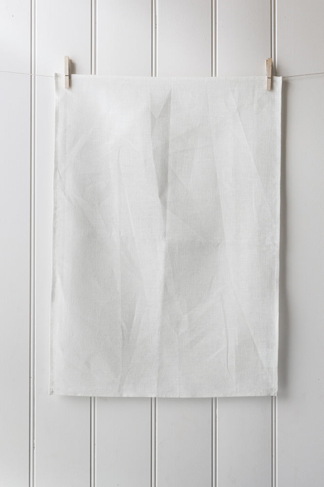 Digital Print Linen Blend Tea Towel – White - Portrait