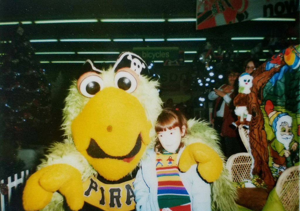 Me with the Pirate Parrot at Hills in the 1980s.