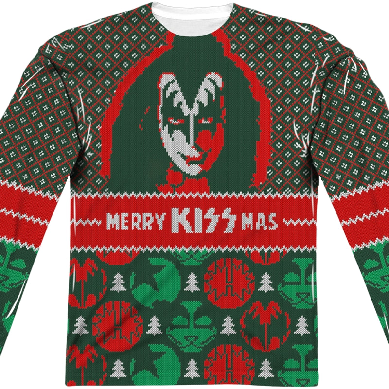 Band Ugly Christmas Sweaters.Kiss Band Ugly Faux Christmas Sweater Long Sleeve Tee