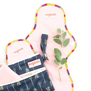 Ecopads Light Pink Reusable Menstrual Cloth Pad with Rainbow Trim and Snap Buttons and Pad Bag