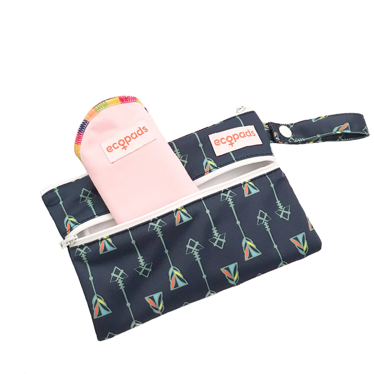 Navy pattern zipped wet bag to hold reusable cloth pads