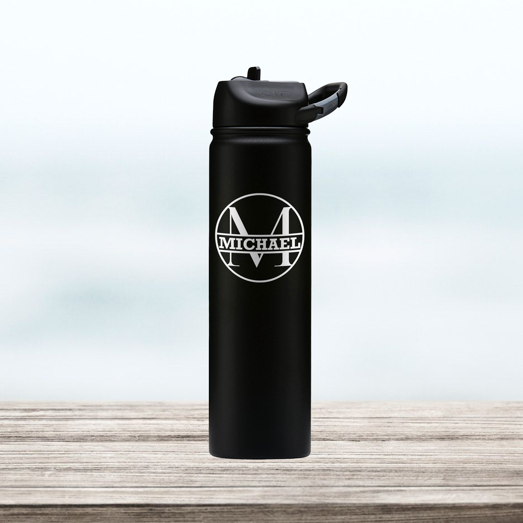 Monogram | Engraved 27 oz Stainless Steel Double-Walled Sports Water Bottle with Straw