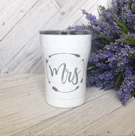 Mr. and Mrs. | 12 oz Engraved Tumbler with Lid | Coffee or Wine Cup