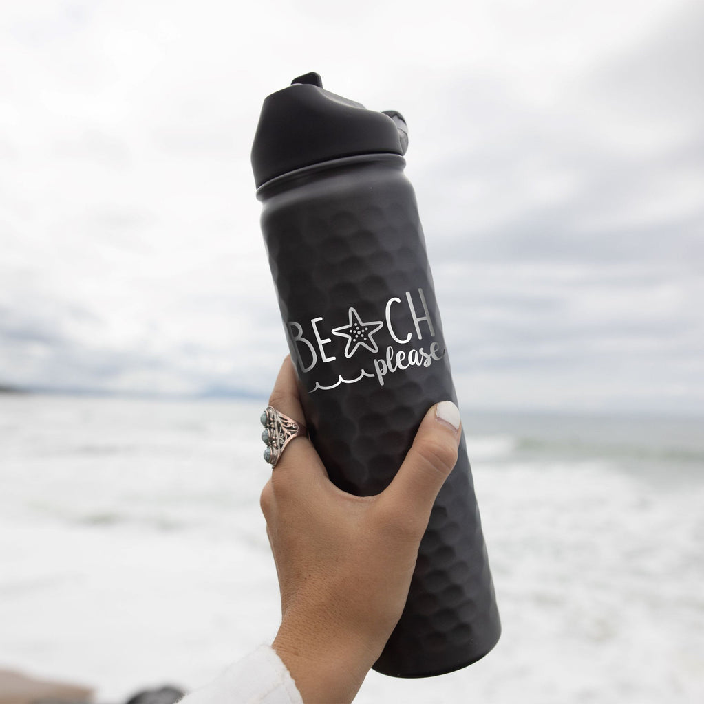 BEACH PLEASE | Engraved 27 oz Stainless Steel Double-Walled Sports Water Bottle with Straw