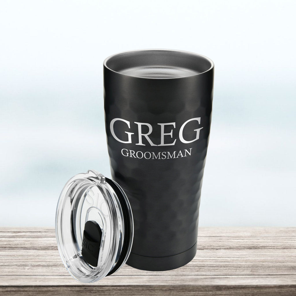 Groomsmen Bridesmaid 20 oz tumbler with lid, custom, stainless steel, engraved, hammered, double-walled, Bachelorette Bachelor Party gift,