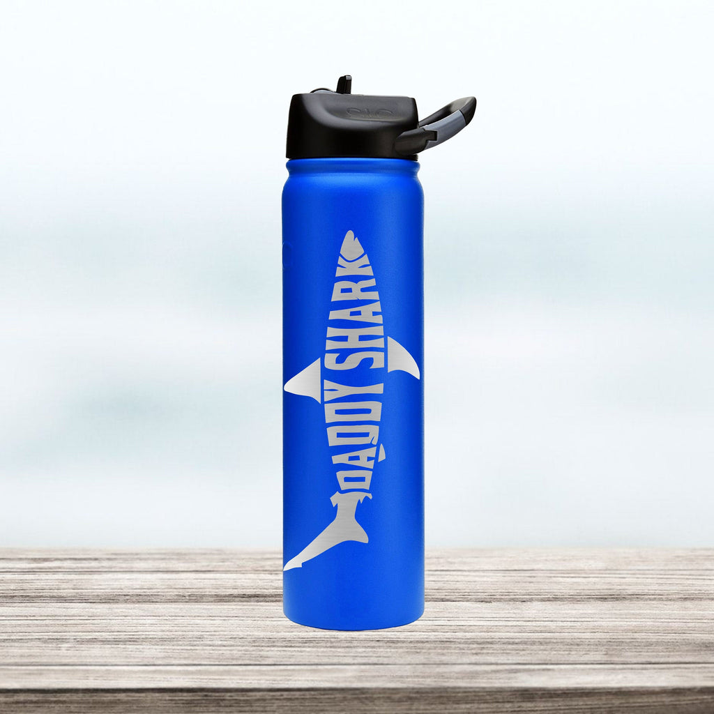 Daddy Shark Water Bottle | Custom personalized stainless steel tumbler with straw | 27 oz SIC cup | Gift | Father's Day Gift | Grandpa Papa