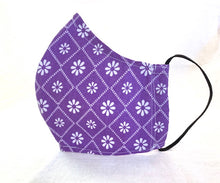 Load image into Gallery viewer, Geometric Diamond Shape - White Daisies on Purple Mask