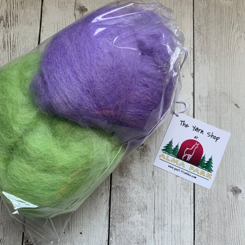 "100% Alpaca batts - 4 oz - ""GREAT GRASS SEA & LILAC"""