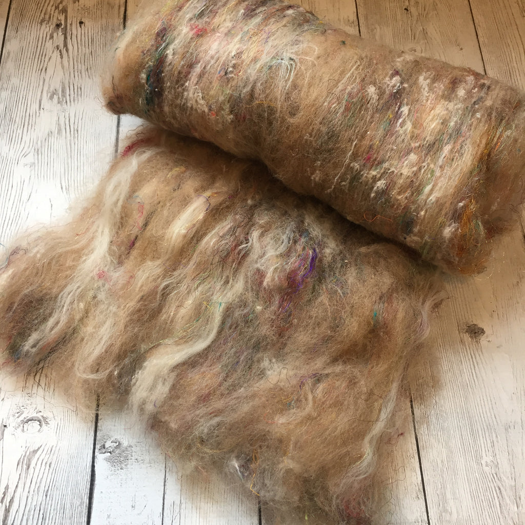 Baby Alpaca Merino Sari Silk and waste Sparkle - Extreme Dryer Lint  (very textured)  - 2 oz