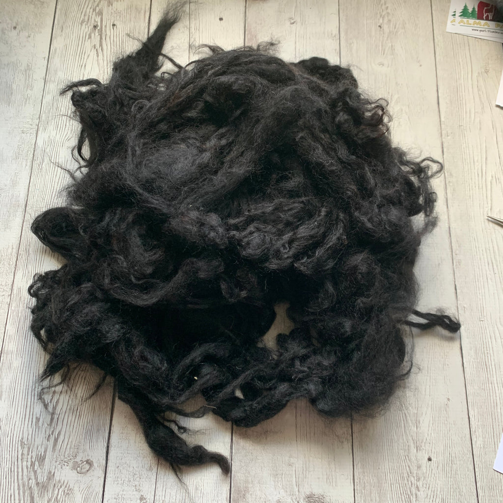 "Washed Raw Fiber ALPACA - BLACK from ""Brady""  4 oz"