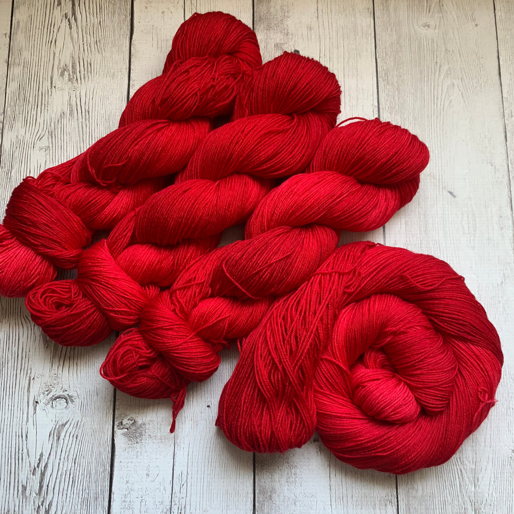 SANTA SUIT RED™ -  Semi-Solid Kettle Dyed Fing/ Sock weight - 463 yds 3.5 oz RTS (819)