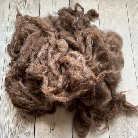"Washed Raw Fiber BABY ALPACA - Rose Grey  from ""Rosalita""  4 oz"
