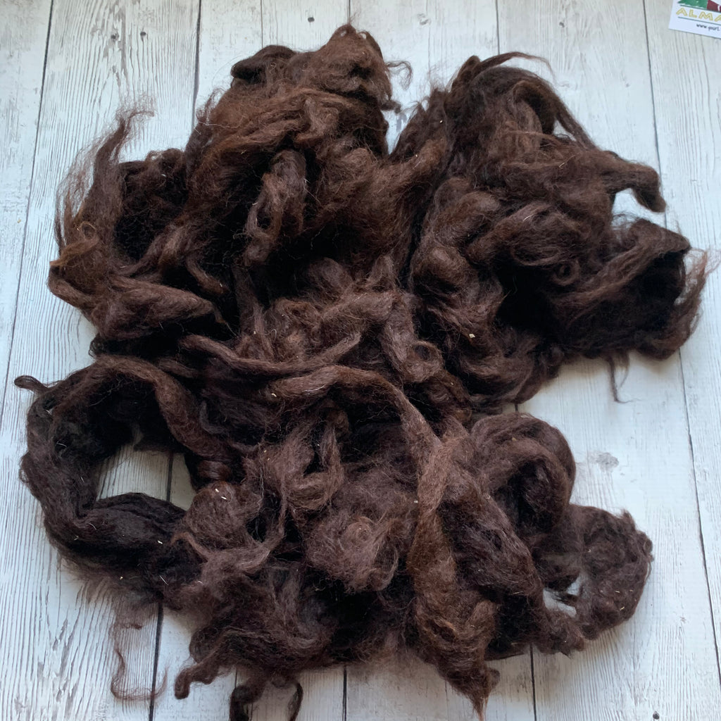 "Washed Raw Fiber ALPACA - Maroon Brown  from ""Lizzie""  4 oz"