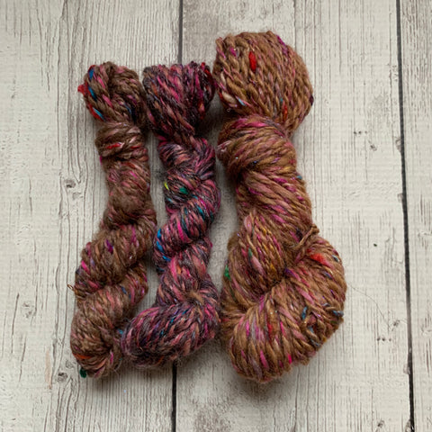 WORSTED - Hand spun mini set Alpaca Merino Silk Sparkle  - 85yds 1.2 oz (2020-M001)