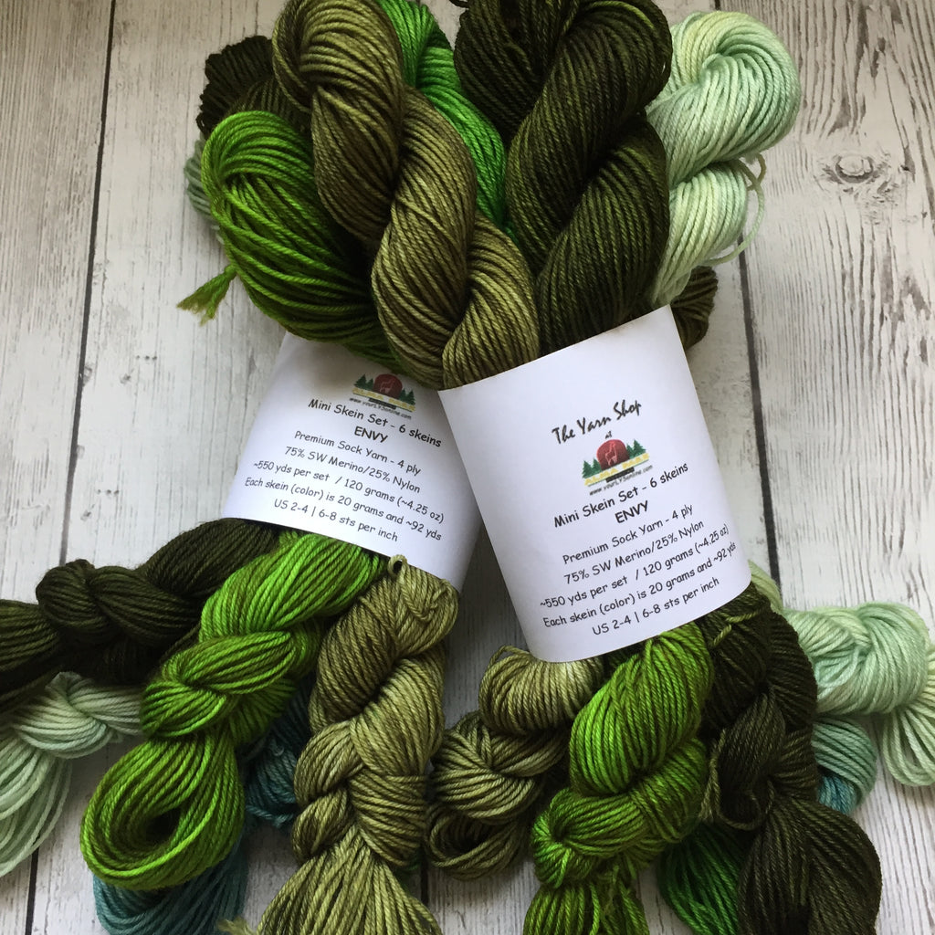 ENVY™- Tonal Green Minis  Fing/ Sock Kettle Dyed 550 yds (120 grams)  RTS (808)