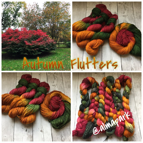 AUTUMN FLUTTERS™ Hand Paint - Merino Wool / Soy Top -  4.3 oz (1210)