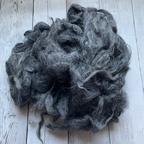 "Washed Raw Fiber ALPACA - Silver Grey  from ""Madman""  4 oz"