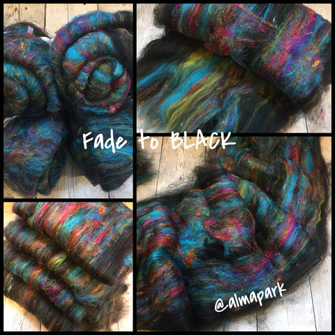 Baby Alpaca BFL Sari Silk Sparkle - Fade to BLACK (smooth-ish)  - 2 oz