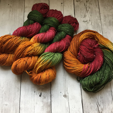 AUTUMN FLUTTERS™ Donegal Tweed Sock- Fing/Sock Hand Painted 438 yds (1110)