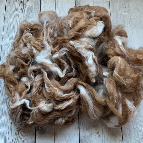 "Washed Raw Fiber BABY ALPACA - Appaloosa (fawn and white)  from ""PEACHES & CREAM""  4 oz"