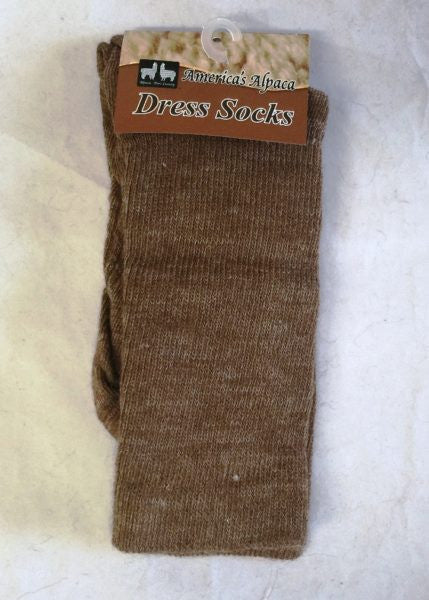 Alpaca Dress Socks (BROWN) - Made in the USA