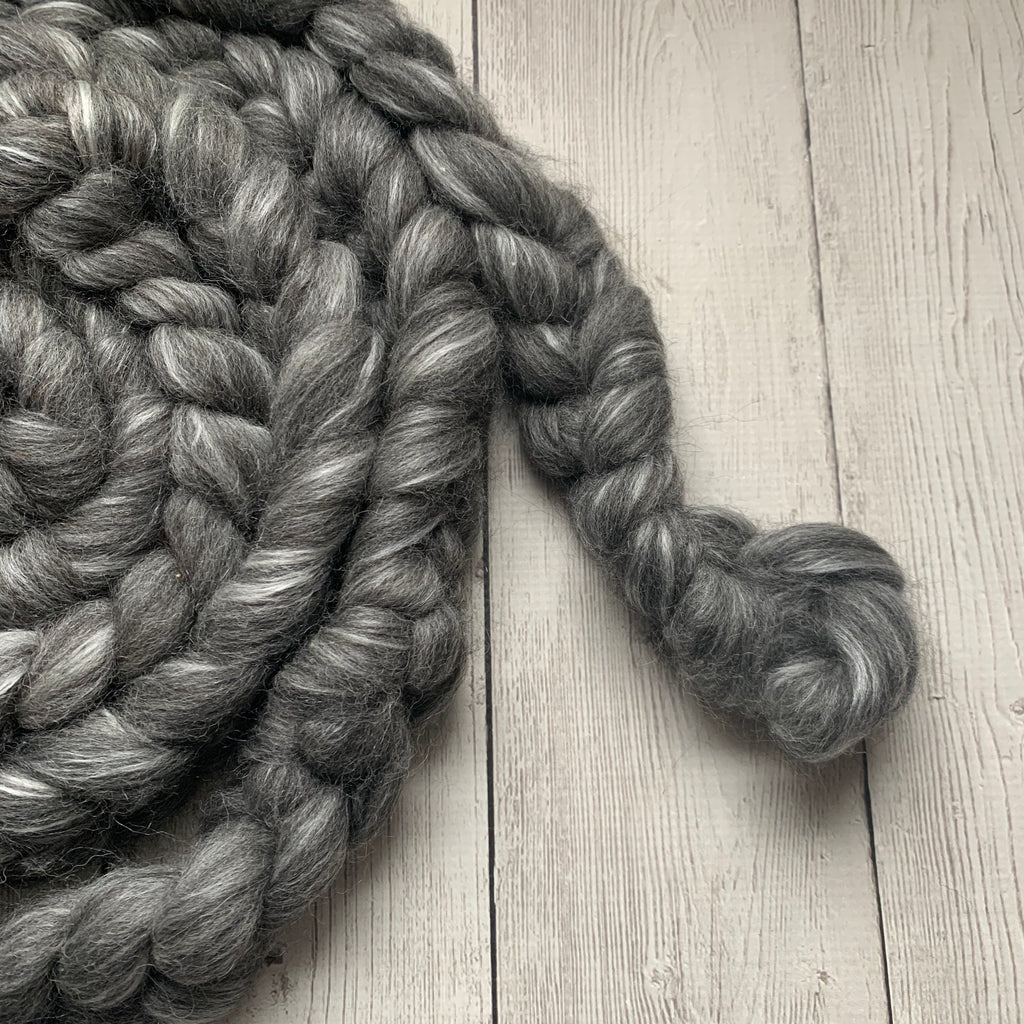 FARM ROVING - Baby Alpaca / Merino / Silk - Roving  (Baby Grade Alpaca) from MULTIPLE ANIMALS - Grey