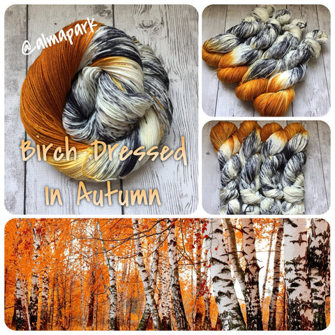 BIRCH DRESSED IN AUTUMN™ -  Hand Painted/Speckled - Multiple Yarn Weights  -  RTS