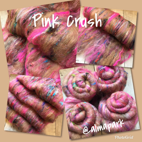 "Baby Alpaca Merino Sari Silk Sparkle - ""PINK CRUSH"" (smooth-ish)  - 2 oz"