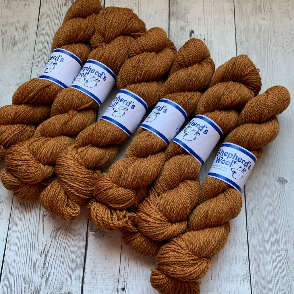 Shepherd's Wool Sport - (ROASTED PUMPKIN)  Sport / light DK by Stonehedge Fiber Mill