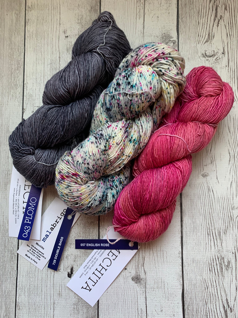 Malabrigo Mechita -  3 skein fingering shawl kit (KIT03)