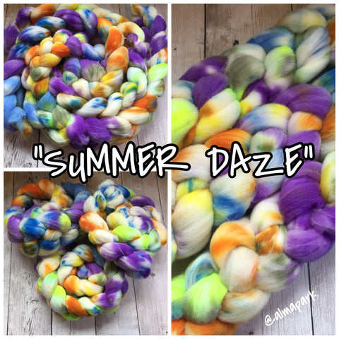 SUMMER DAZE Hand Paint - Limited Edition TdF 2018 colorway  Rambouillet Wool Top -  4 oz