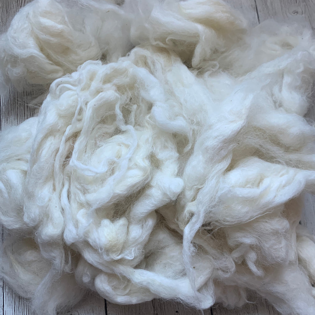 "Washed Raw Fiber BABY ALPACA - White from ""SEDA""  4 oz"