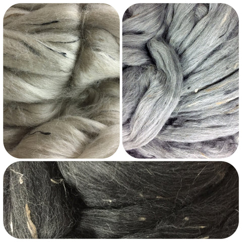 AYC Baby Alpaca Top/Donegal Tweed Nubs (Paca-Puff TWEED) -  Natural -3 colors avail - 2 oz