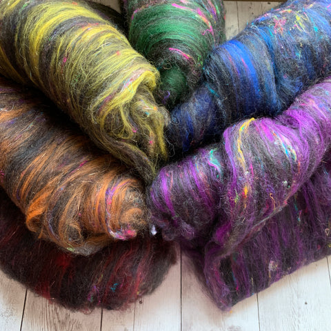 Batt Minis - 1.5 oz - Dark Rainbow Crush - Alpaca Merino Silks Sparkle