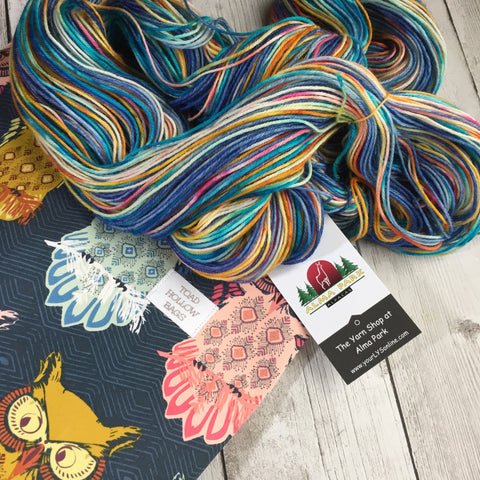 """A Hoot of a Kit"" - PRE-ORDER -  Project Bag and Yarn - OWLS - Merino Cashmere Nylon Fingering Sock 435 yds 3.5 oz"