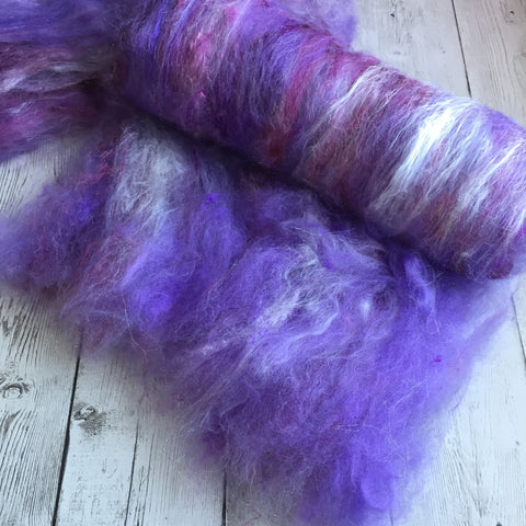 Baby Alpaca Mix - Luxury Batt - Spring Bouquet - LILACS 2 oz