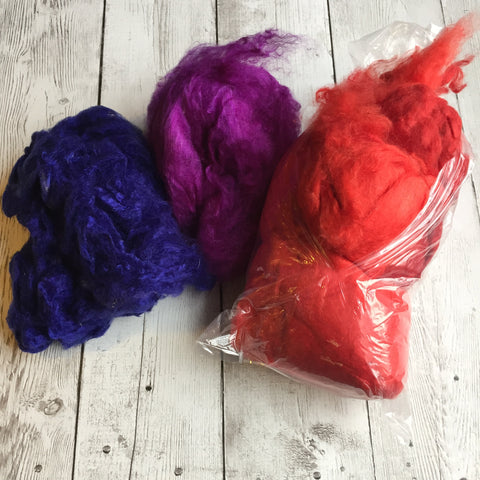 Soffsilk™ -Red/Blue/Purple - Premium Carded Silk Waste - Latest Craze