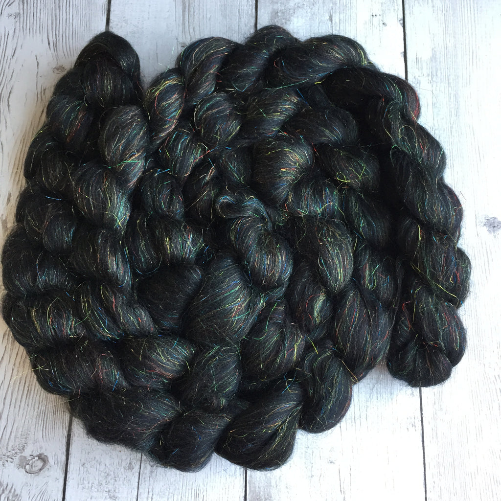 "Merino/Sparkle Top 70/30 ""MIDNIGHT LIGHTNING STORM"" 2 or 4 oz"