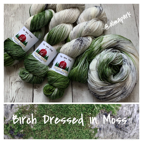 SOCK WEIGHT - Birch Dressed in Moss™ Speckled Hand Paint - 463 yds RTS