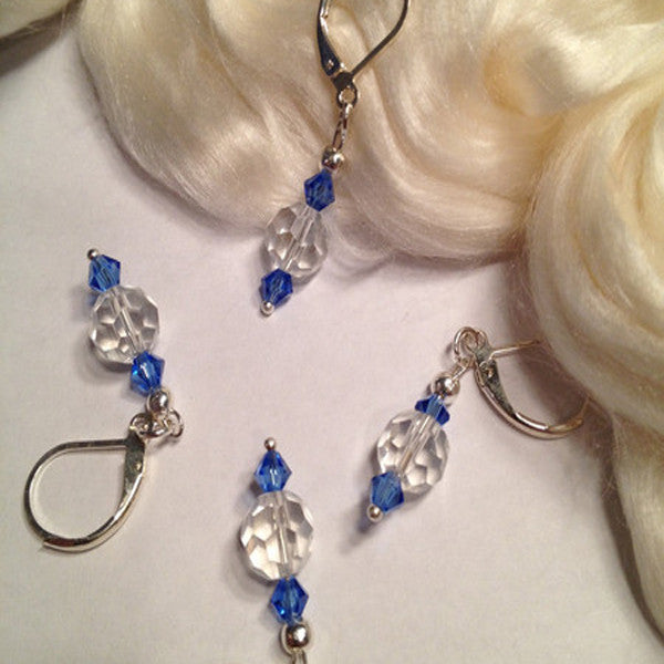 Knit Bling Stitch Markers (Blue & Clear Crystals) Set Of 4