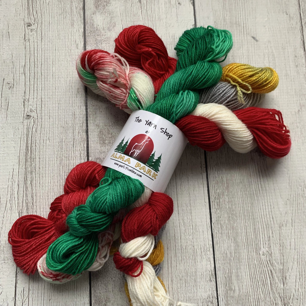 CHRISTMAS WONDERLAND™ KIT -  Speckled/Kettle dyed Fing/Sock Hand Paint - 455 yds RTS (1211)