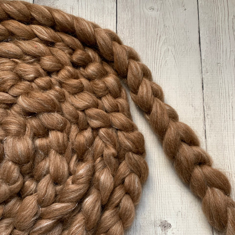FARM ROVING - Baby Alpaca / Merino / Firestar - Roving from TEDDY - ROSEY GREY/Brown