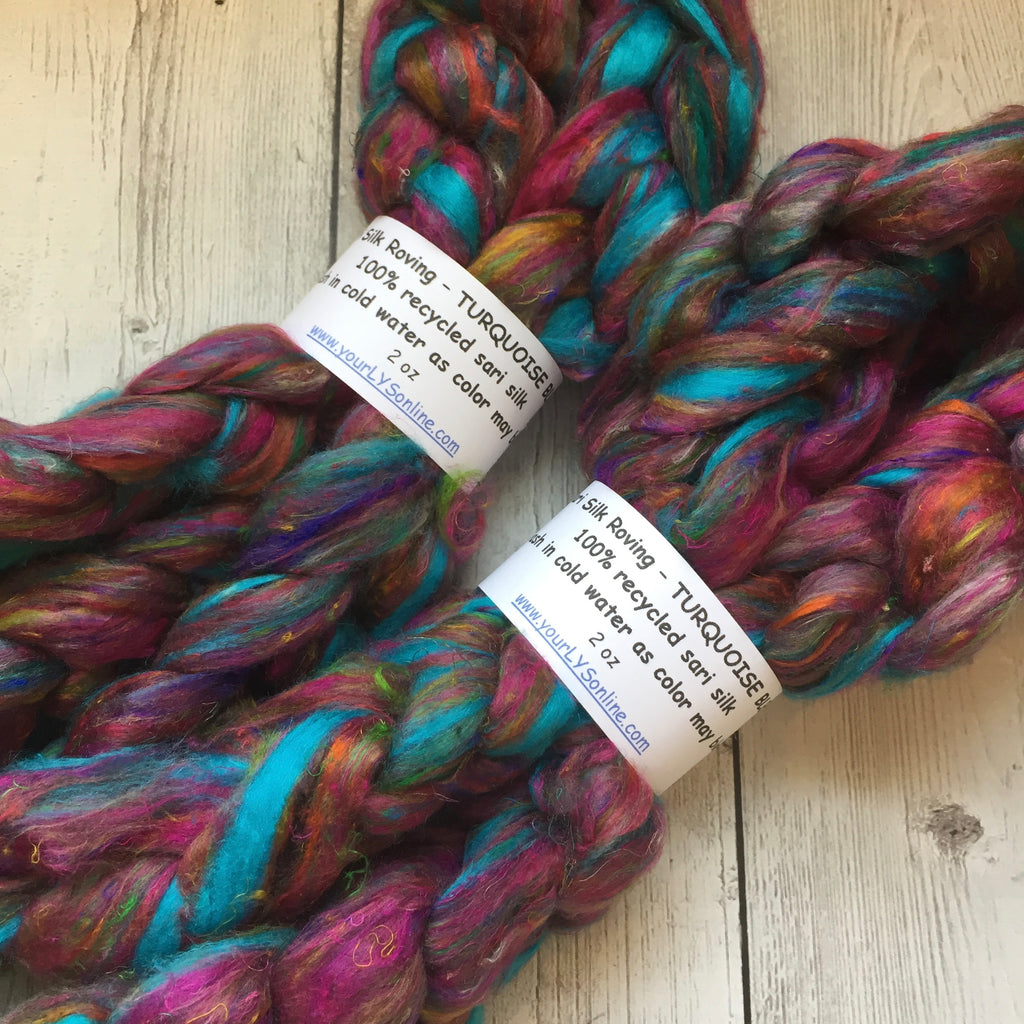 Sari Silk Waste Roving - TURQUOISE BLEND - 2 oz