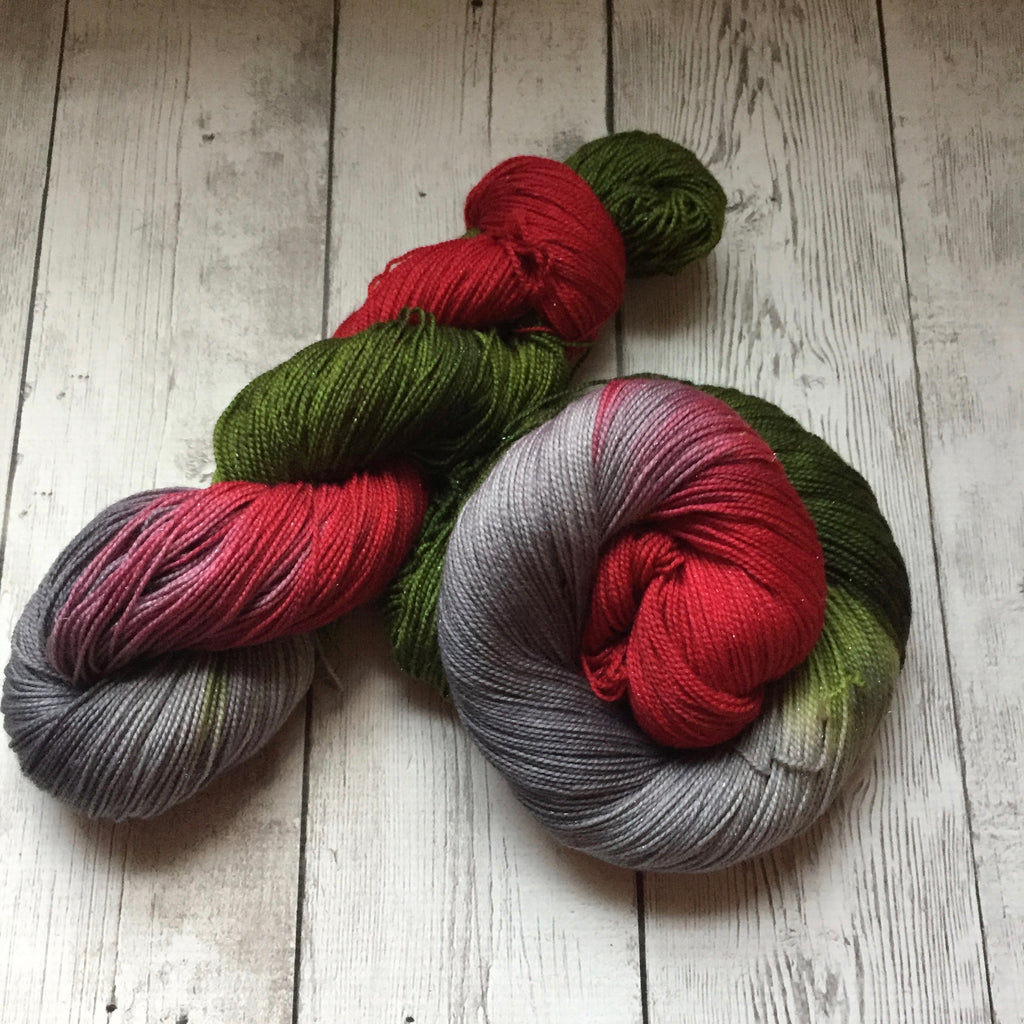 Frosted Poinsettia™ Sparkle Sock- Fing/Sock Hand Paint 438 yds RTS (1204)