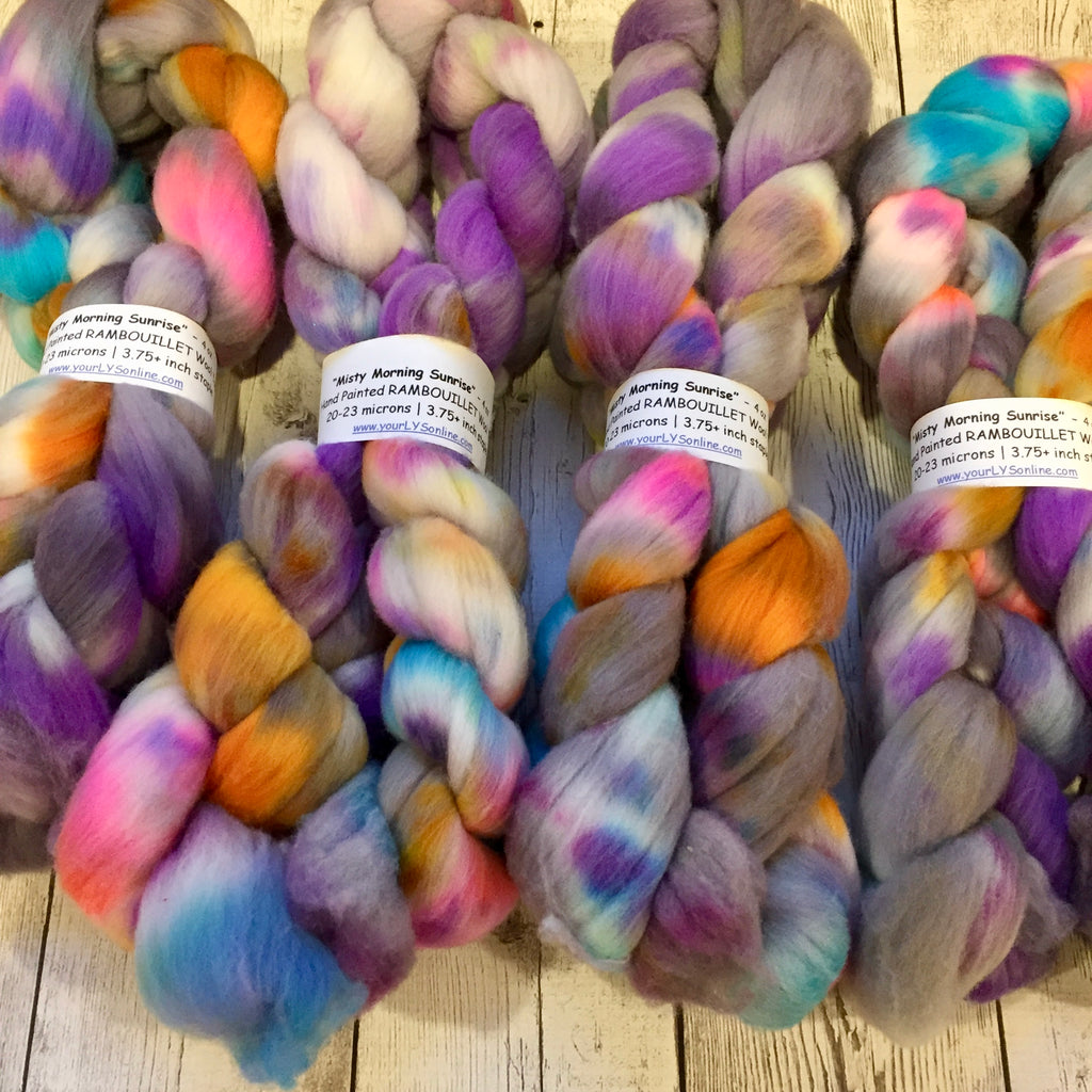 MISTY MORNING SUNRISE - Hand Paint -  Rambouillet Wool Top -  4 oz (1110)